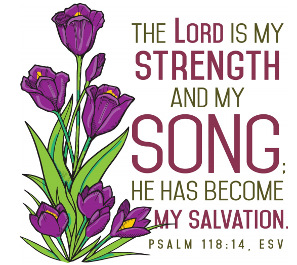 """Purple irises grow on the left side of the image, on the right are the words: """"The LORD is my strength and my song; he has become my salvation."""""""