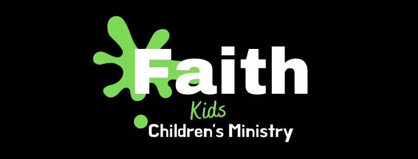 """A black background. The words """"Faith Kids Children's Ministry"""" in white and green are over a splash of lime green paint."""