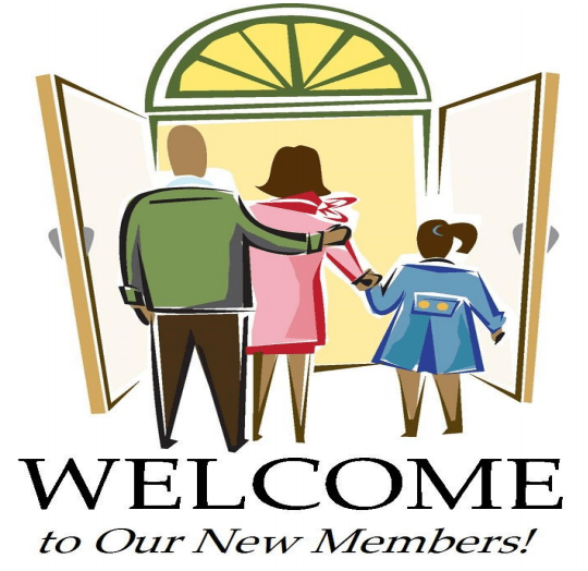 A father, mother, and daughter enter a church doorway. Text reads: Welcome to our new members!