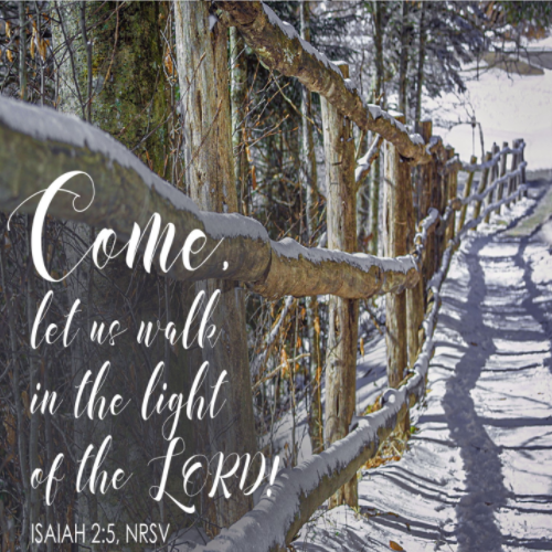 """A fenceline runs between a path and a forest. Text is seen from Isaiah 2:5—""""Come, let us walk in the light of the Lord!"""""""