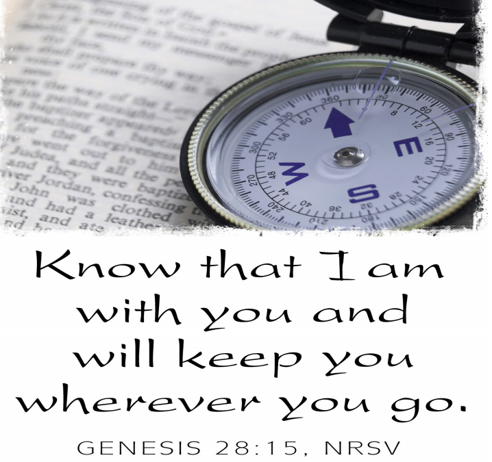 """A compass on a newspaper. Text of Genesis 28:15 is in the lower half of the photo: """"I am with you and will watch over you wherever you go, and I will bring you back to this land. I will not leave you until I have done what I have promised you."""""""