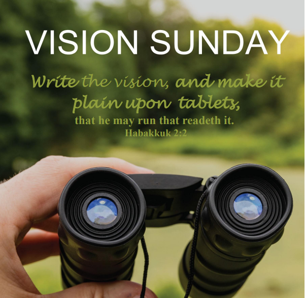 "A pair of binoculars, with a hand raising them up as if we are about to look through them. Text is from Habakkuk 2:2— "" Write the vision, and make it plain upon tables, that he may run that readeth it."""