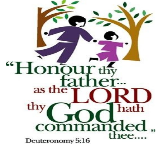 """A stylized drawing of a father and child running through trees. Included is the text of Deuteronomy 5:16—""""Honor your father and your mother, as the Lord your God has commanded you."""""""